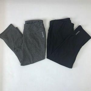 2 Reebok Playdry Workout Capri Leggings Gray Black